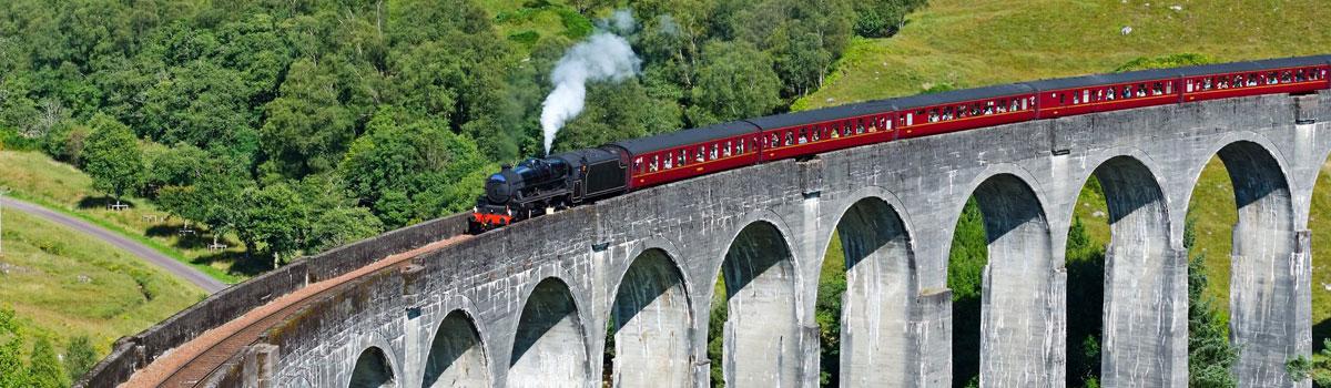 A steam train atop the Glenfinnan Viaduct